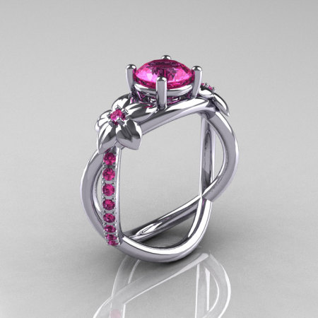 Nature Classic 18K White Gold 1.0 CT Pink Sapphire Leaf and Vine Engagement Ring R180-18WGPSS-1