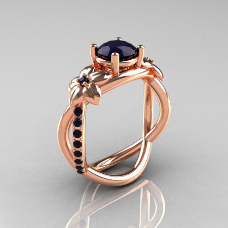 Nature Classic 14K Rose Gold 1.0 CT Dark Blue Sapphire Leaf and Vine Engagement Ring R180-14RGDBSS-1
