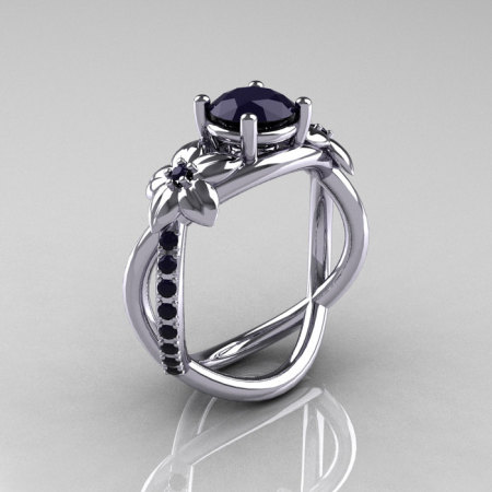 Nature Classic 10K White Gold 1.0 CT Dark Blue Sapphire Leaf and Vine Engagement Ring R180-10WGDBSS-1