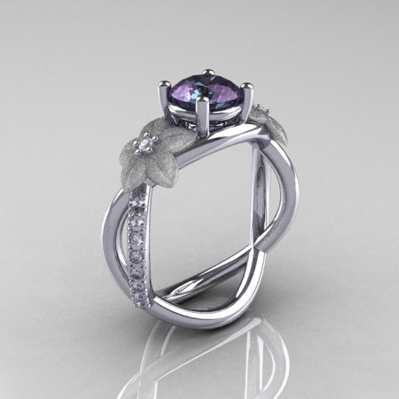 Nature Classic 14K White Gold 2.0 CT Alexandrite Diamond  Leaf and Vine Engagement Ring R180-14KWGD2ALL-1