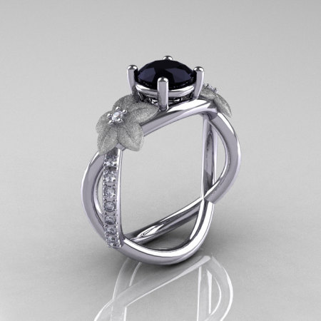 Nature Classic 14K White Gold 1.0 CT Black Diamond  Leaf and Vine Engagement Ring R180-14KWGDBD-1