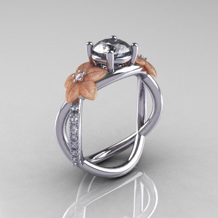Nature Classic 18K Two-Tone Gold 1.0 CT White Sapphire Diamond Leaf and Vine Engagement Ring R180-18KTTWRGDWS-1