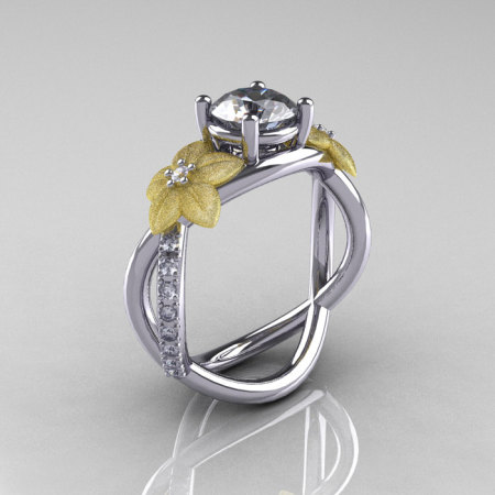 Nature Classic 18K Two-Tone Gold 1.0 CT White Sapphire Diamond Leaf and Vine Engagement Ring R180-18KTTWYGDWS-1