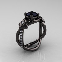 Designer Classic 10K Black Gold 1.0 CT Black Diamond  Leaf and Vine Wedding Ring Engagement Ring R180-10KBGDBD-1