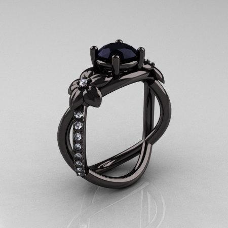 Designer Classic 10K Black Gold 1.0 CT Black Diamond  Leaf and Vine Wedding Ring Engagement Ring R180-10KBGDBD-1