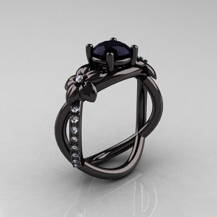 designer classic 10k black gold 10 ct black diamond leaf and vine wedding ring engagement ring - Black Diamond Wedding Ring
