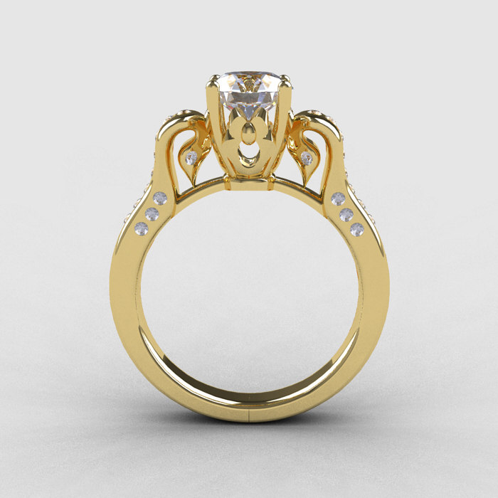 14k yellow gold white sapphire wedding ring