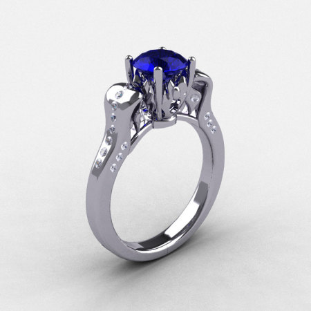 18K White Gold Blue Sapphire Diamond Wedding Ring Engagement Ring NN101-18KWGDBS-1