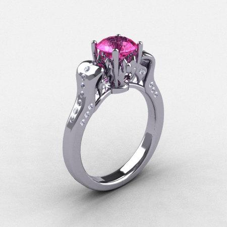 950 Platinum Pink Sapphire Diamond Wedding Ring Engagement Ring NN101-PLATDPS-1