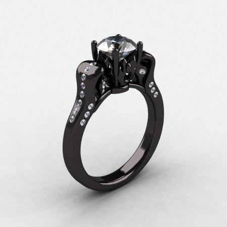 14K Black Gold Cubic Zirconia Diamond Wedding Ring Engagement Ring NN101-14KBGDCZ-1