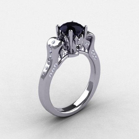 14K White Gold Black Diamond Wedding Ring Engagement Ring NN101-14KWGDBD-1