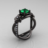 Designer Classic 18K Black Gold 1.0 CT Emerald Diamond  Leaf and Vine Wedding Ring Engagement Ring R180-18KBGDEM-1