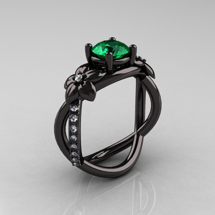 Designer Classic 18K Black Gold 1 0 CT Emerald Diamond Leaf and Vine Wedding