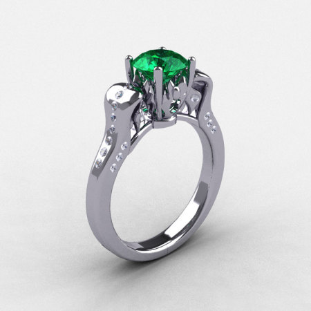 14K White Gold Emerald Diamond Wedding Ring Engagement Ring NN101-14KWGDEM-1