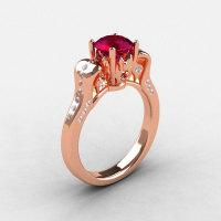 18K Rose Gold Garnet Diamond Wedding Ring Engagement Ring NN101-18KRGDG-1