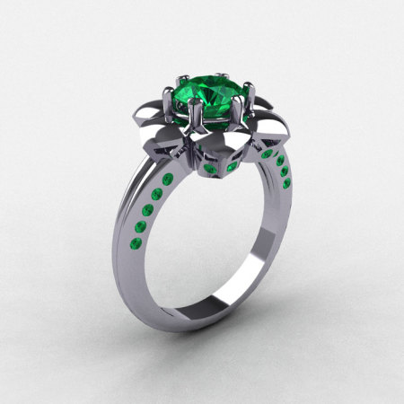 14K White Gold Emerald Wedding Ring Engagement Ring NN102-14KWGEM-1