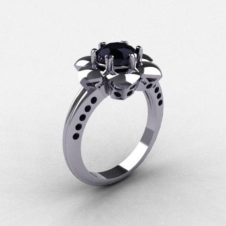 14K White Gold Black Diamond Wedding Ring Engagement Ring NN102-14KWGBD-1