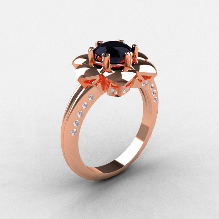 14K Rose Gold Black Diamond Wedding Ring Engagement Ring NN102 14KRGDBD