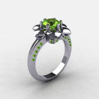 14K White Gold Peridot Wedding Ring Engagement Ring NN102-14KWGP-1