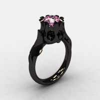 Natures Nouveau 14K Black Gold Light pink Topaz Wedding Ring Engagement Ring NN105-14KBGLPT-1