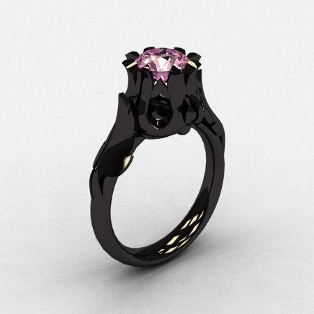 Natures Nouveau 14K Black Gold Light pink Topaz Wedding Ring Engagement Ring NN105-14KBGLPT-1