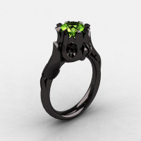 Natures Nouveau 14K Black Gold Peridot Wedding Ring Engagement Ring NN105-14KBGP-1