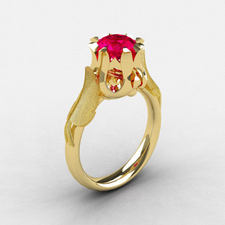 Natures Nouveau 18K Yellow Gold Ruby Wedding Ring Engagement Ring NN105-18KYGR-1