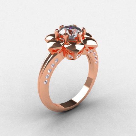 14K Rose Gold White Sapphire Diamond Wedding Ring Engagement Ring NN102-14KRGDWS-1