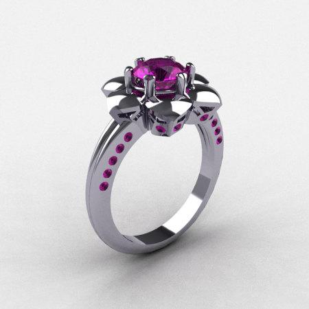 950 Platinum Amethyst Wedding Ring Engagement Ring NN102-PLATAM-1