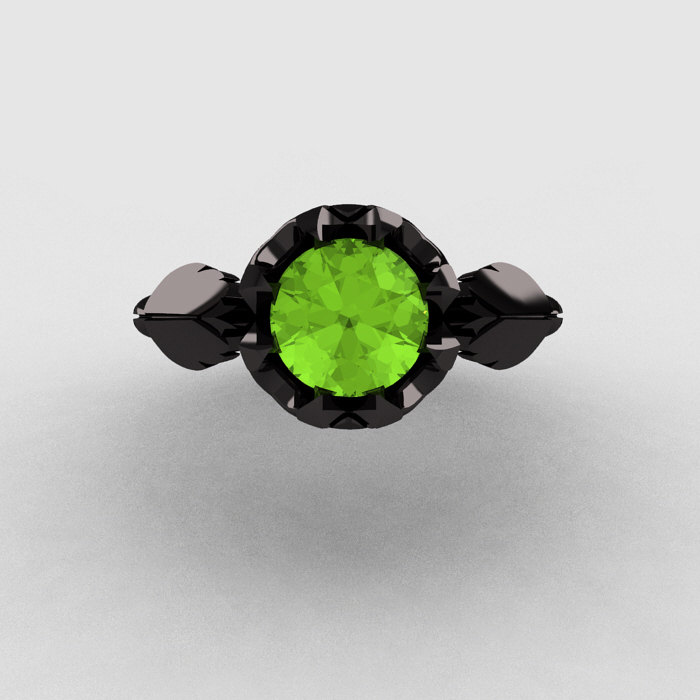 natures nouveau 14k black gold peridot wedding ring engagement ring nn105 14kbgp 4 - Peridot Wedding Rings