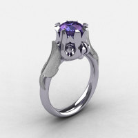 Nature Classic 18K White Gold 2.0 Carat Alexandrite Wedding Ring Engagement Ring NN105-18KWG2AL-1