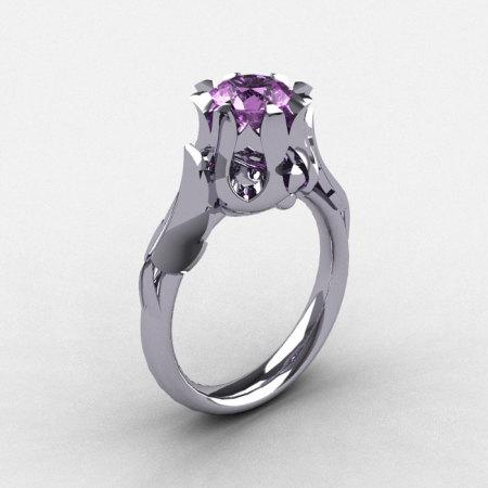 Natures Nouveau 950 Platinum Lilac Amethyst Wedding Ring Engagement Ring NN105-PLATLA-1