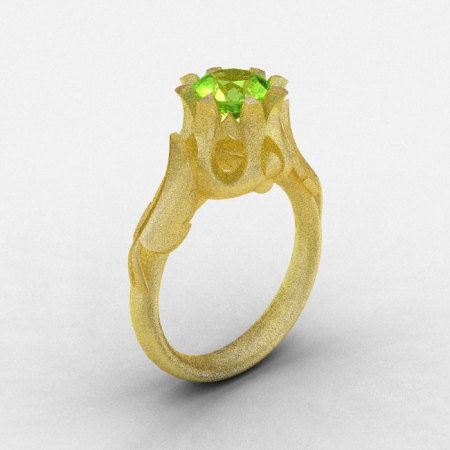Natures Nouveau 14K Yellow Gold Peridot Wedding Ring Engagement Ring NN105-14KYGSP-1