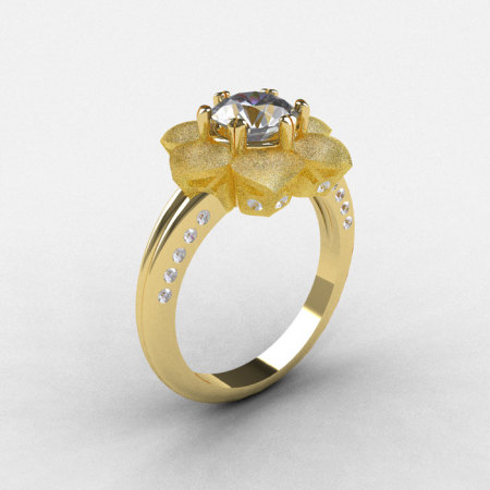 14K Sandblast Yellow Gold White Sapphire Diamond Wedding Ring Engagement Ring NN102-14KYGDWS-1