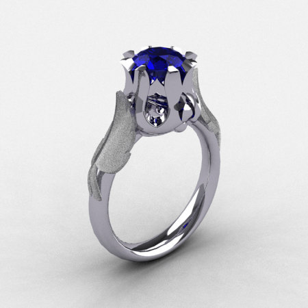Natures Nouveau 14K White Gold Blue Sapphire Wedding Ring Engagement Ring NN105-14KWGBS-1