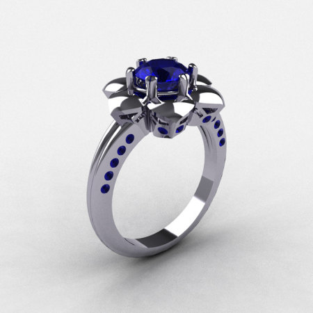 14K White Gold Blue Sapphire Wedding Ring Engagement Ring NN102-14KWGBS-1