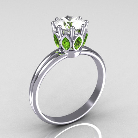 Modern French Antique 18K White Gold Marquise Peridot 1.0 CT Round Zirconia Solitaire Ring R90-18KWGCZP-1