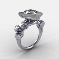 Natures Nouveau 14K White Gold CZ Diamond Leaf and Mushroom Wedding Ring Engagement Ring NN103SA-14KWGDCZ-1