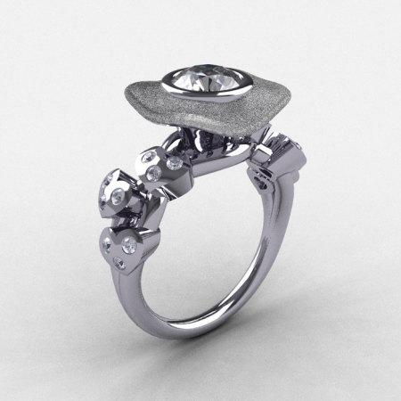 Natures Nouveau 14K White Gold CZ Diamond Leaf and Mushroom Wedding Ring Engagement Ring NN103SA-14KWGDCZ-1