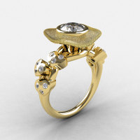 Natures Nouveau 14K Yellow Gold CZ Diamond Leaf and Mushroom Wedding Ring Engagement Ring NN103SA-14KYGDCZ-1