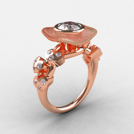 Natures Nouveau 14K Rose Gold CZ Diamond Leaf and Mushroom Wedding Ring Engagement Ring NN103SA-14KRGDCZ-1