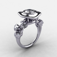 Natures Nouveau 14K White Gold CZ Diamond Leaf and Mushroom Wedding Ring Engagement Ring NN103A-14KWGDCZ-1