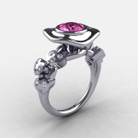 14K White Gold Pink Sapphire Diamond Leaf and Mushroom Wedding Ring Engagement Ring NN103A-14KWGDPS-1
