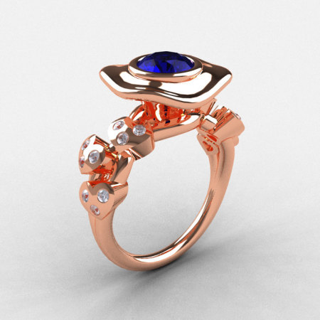 18K Rose Gold Blue Sapphire Diamond Leaf and Mushroom Wedding Ring Engagement Ring NN103A-18KRGDBS-1