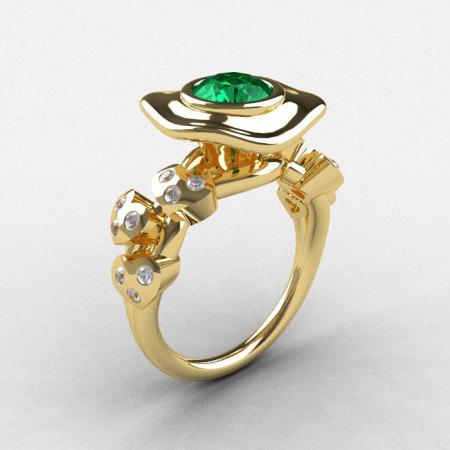 14K Yellow Gold Emerald Diamond Leaf and Mushroom Wedding Ring Engagement Ring NN103A-14KYGDEM-1