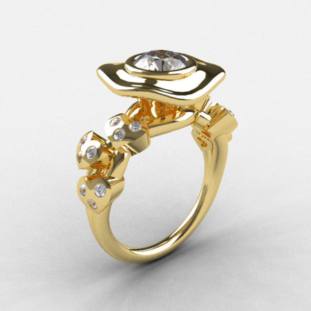 Natures Nouveau 18K Yellow Gold White Sapphire Diamond Leaf and Mushroom Wedding Ring Engagement Ring NN103A-18KYGDWS-1