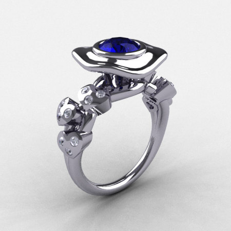 Platinum Blue Sapphire Diamond Leaf and Mushroom Wedding Ring Engagement Ring NN103A-PLATDBS-1