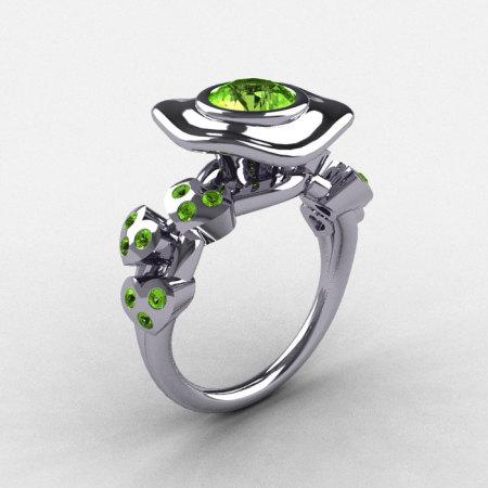 14K White Gold Peridot Leaf and Mushroom Wedding Ring Engagement Ring NN103A-14KWGP-1