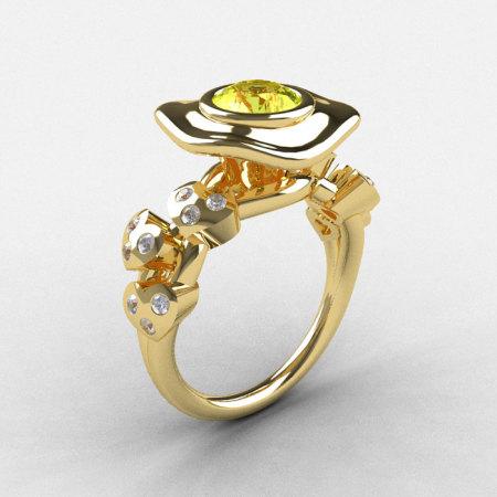 14K Yellow Gold Yellow Sapphire Diamond Leaf and Mushroom Wedding Ring Engagement Ring NN103A-14KYGDYS-1