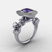 Natures Nouveau 950 Platinum Alexandrite Diamond Leaf and Mushroom Wedding Ring Engagement Ring NN103SA-PLATDAL-1